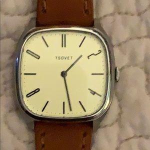 Tsovet Watch. Tan leather band.